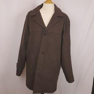 Perry Ellis mens S brown pea coat EUC